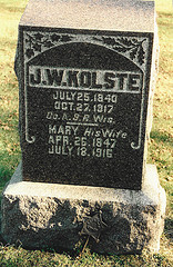 Grave of J.W. Kolste and his wife Mary.