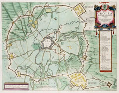Map of the Siege of Grol (Groenlo) in 1627 by Frederick Henry, Prince of Orange. Map by J.Blaeu, 1649.