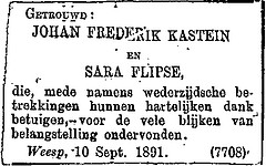 Announcement marriage Johan Frederik Kastein and Sara Flipse