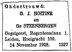 Announcement publication of the banns of Gerrit Jan Hoitink and Ge Steenbergen