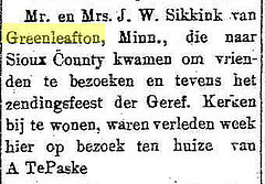 Report of a visit of J.W. Sikkink and his wife to Sioux County.