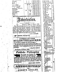 Ad for cattle sale by G.J. Arentsen in Gibbsville on 15 Apr 1858 (Nieuwsbode)