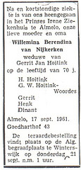 Obituary of Willemina Berendina van Nijkerken.