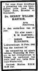 Obituary Gerrit Willem Kastein
