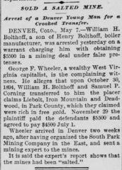 Arrest of William H. Bolthoff as a result of a mine swindle
